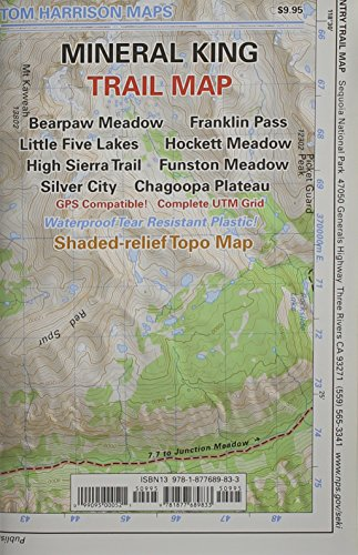9781877689833: Mineral King Trail Map: Bearpaw Meadow, Franklin Pass, Little Five Lakes, Hockett Meadow, High Sierra Trail, Funston Meadow, Silver City, Chag (Tom Harrison Maps)