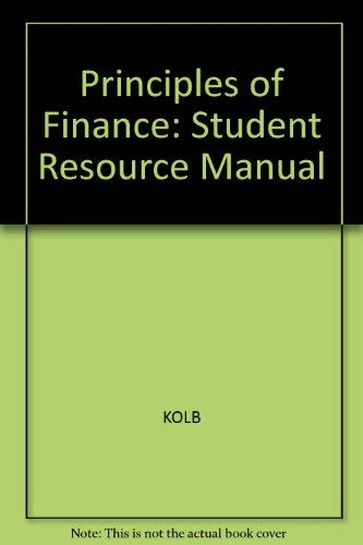9781878975577: Principles of Finance: Student Resource Manual