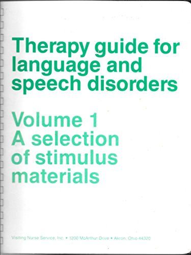 9781880504000: Therapy Guide for Language and Speech Disorders, Volume 1: A Selection of Stimulus Materials