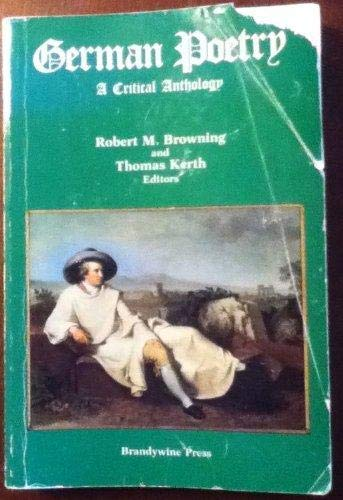 9781881089407: German Poetry: A Critical Anthology