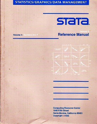 Stata: Reference Manual Release 3 (Statistics/Graphics/Data Management): n/a