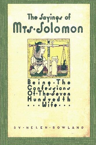 The Sayings of Mrs. Solomon (Paperback): Helen Rowland