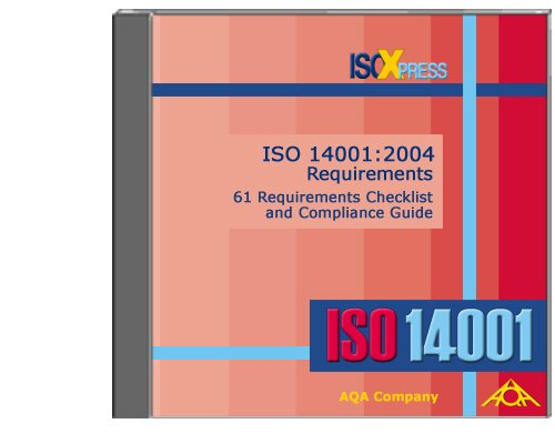 9781882711444: ISO 14001:2004 Requirements, 61 Requirements Checklist and Compliance Guide