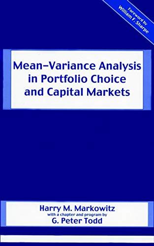 9781883249755: Mean-Variance Analysis in Portfolio Choice and Capital Markets (Frank J. Fabozzi Series)