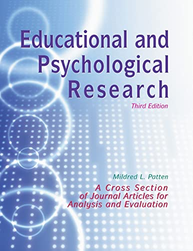 9781884585456: Educational and Psychological Research: A Cross-Section of Journal Articles for Analysis and Evaluation