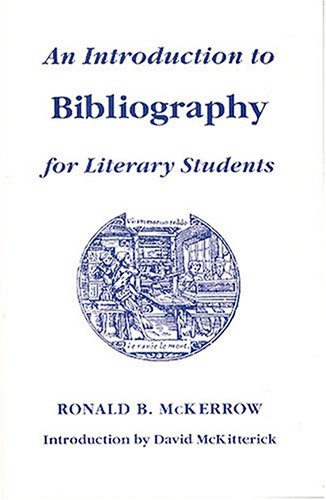 9781884718014: An Introduction to Bibliography for Literary Students (St. Paul's Bibliographies)