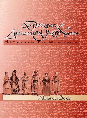 A Dictionary of Ashkenazic Given Names : Alexander Beider