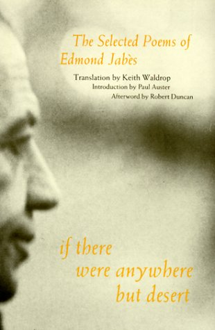 9781886449732: If There Were Anywhere But Desert: The Selected Poems of Edmond Jabes
