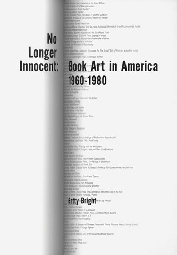 No Longer Innocent: Book Art In America 1960-1980.