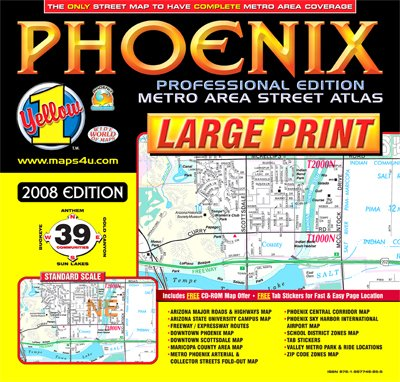 9781887749855: Phoenix Professsional Edition - LARGE PRINT Metro Area Street Atlas (Yellow1 Series of Maps and Atlases)