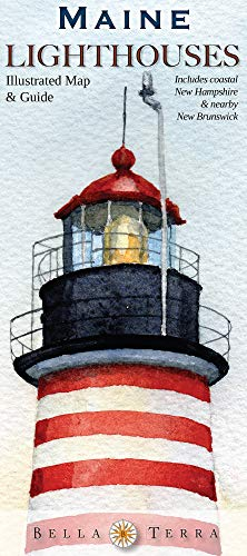 9781888216288: Maine Lighthouses Illustrated Map & Guide