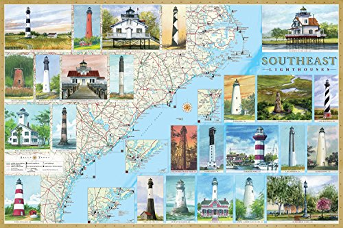 9781888216394: Southeast Lighthouses Illustrated Map & Guide Laminated Poster: North Carolina, South Carolina & Georgia