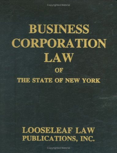Business Corporation Law: N.Y.S. Certified: Statute, New York