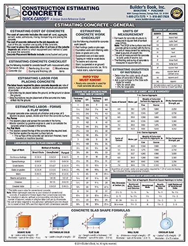 Laminated Quick-Card: Concrete Construction Estimating. full-color, 6-page: Builders Book Inc