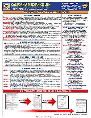 9781889892924: Laminated Quick-Card: CA Mechanics Lien