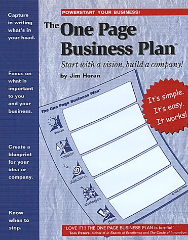 9781891315077: The One Page Business Plan: Start with a Vision, Build a Company!