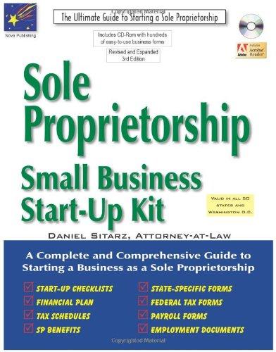 9781892949592: Sole Proprietorship: Small Business Start-up Kit