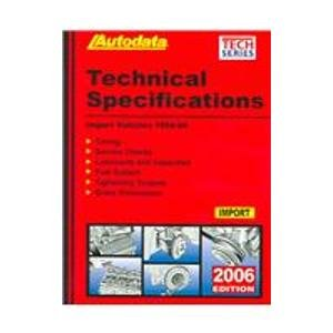9781893026315: Import Technical Specifications Manual 2006 (AUTODATA TECH MANUAL SERIES)
