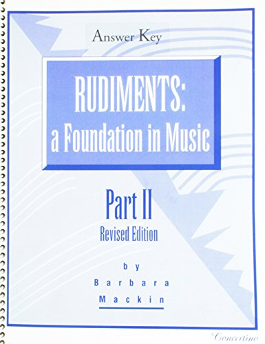 9781894206259: Rudiments: A Foundation in Music 2, Revised Edition Answer Key