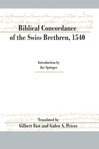 9781894710169: Biblical Concordance of the Swiss Brethren, 1540