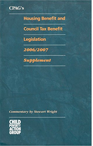CPAG's Housing Benefit and Council Tax Benefit Legislation: Supplement (9781901698923) by Stewart Wright