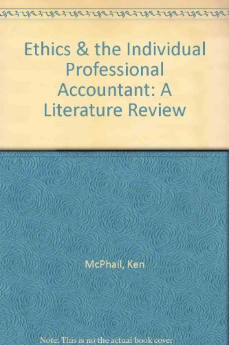 9781904574187: Ethics & the Individual Professional Accountant: A Literature Review