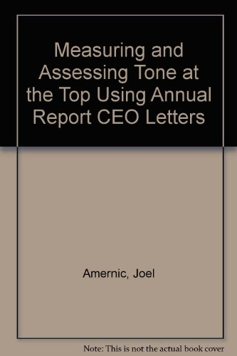9781904574552: Measuring and Assessing Tone at the Top Using Annual Report CEO Letters