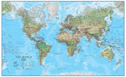 World Physical Map: Maps International Ltd