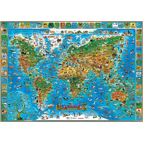 Animals of the World flat laminated map: The Genuine Company