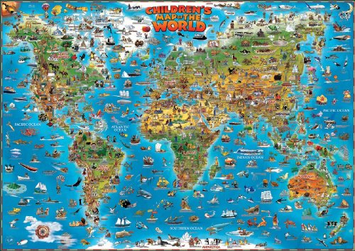 World children's map flat laminated 2013: DINO.EN.PP.W: The Genuine Company Limited