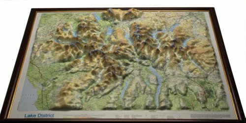 Lake District Raised Relief Map: Light Wood Frame