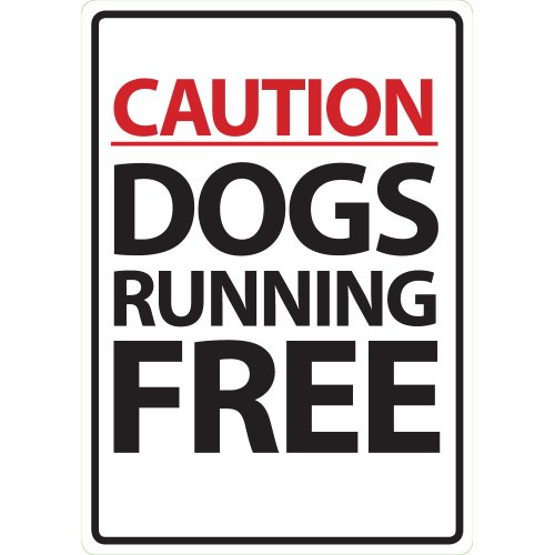 9781906492823: Magnet & Steel Caution Dogs Running Free Plastic Sign