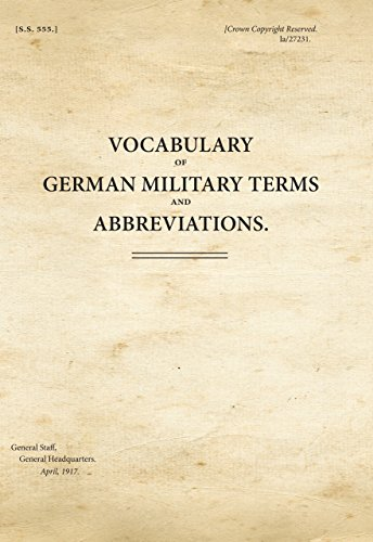 Vocabulary of German Military Terms and Abbreviations: War Office