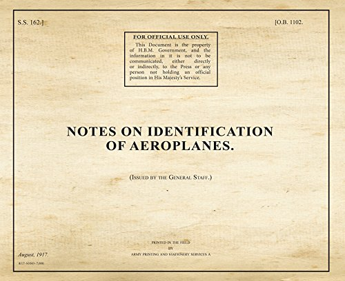 Notes on Identification of Aeroplanes (War Office Publications): War Office