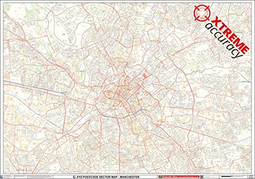 9781909261532: XYZ Postcode Sector Map - (C3) - Manchester City Centre: Plastic Coated Wall Map
