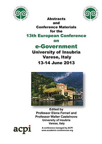 9781909507227: ECEG 3013 - Proceedings of the 13th European Conference on e-Government (2013)