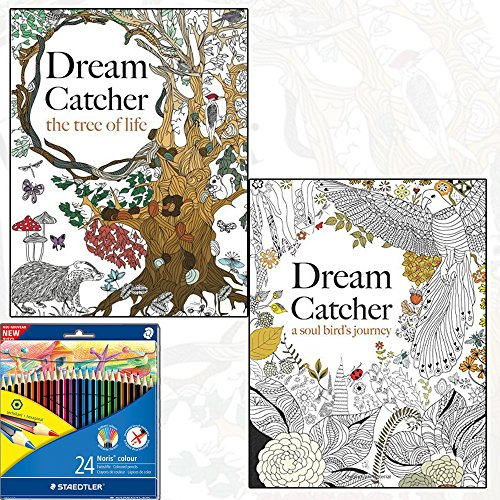 9781910771082: Dream Catcher: A Soul Bird's Journey & the Tree of Life Stress Relief Art Therapy Colouring 2 Book Collection with Staedtler 24 Colour Pencil Pack
