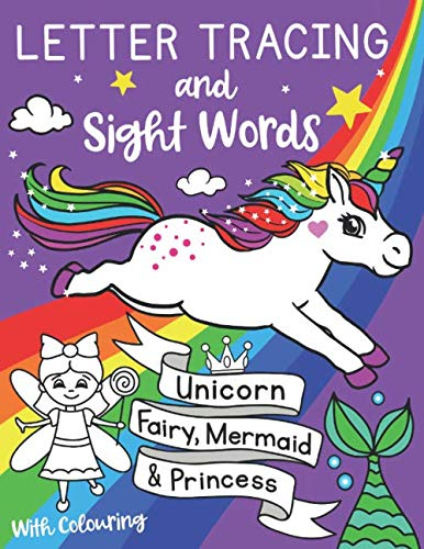 9781913671075: Letter Tracing and Sight Words with Colouring. Unicorn, Fairy, Mermaid and Princess. (UK Edition): Learning workbook for preschoolers and reception ... kids ages 3-5 (Silly Bear Colouring Books)
