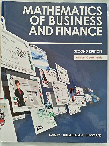 Mathematics of Business and Finance Second Edition: Daisley Kugathasan Huysmans