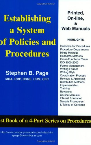 9781929065004: Establishing a System of Policies and Procedures
