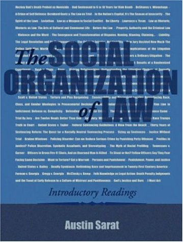 9781931719209: The Social Organization of Law: Introductory Readings