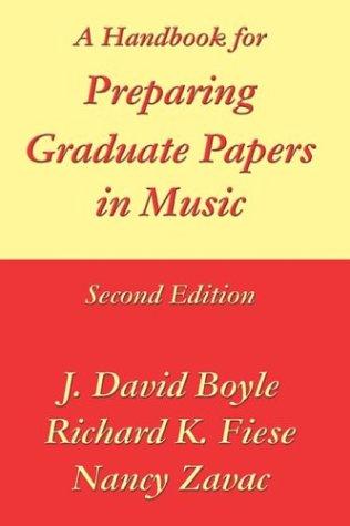 9781931823142: A Handbook for Preparing Graduate Papers in Music
