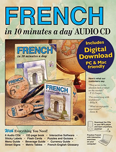 French 9781931873871 Learning French has never been this easy! This complete language learning kit includes the 10 minutes a day audio CDs, the book and the