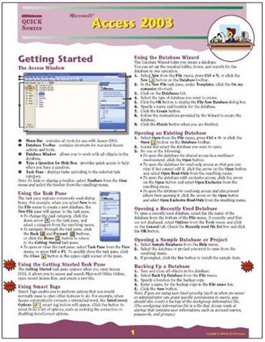 9781932104158: Microsoft Access 2003 Quick Source Reference Guide