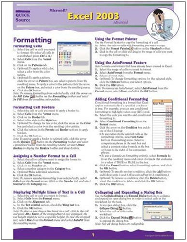 9781932104455: Microsoft Excel 2003 Advanced Quick Source Guide by Quick Source (2006) Pamphlet