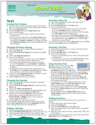 9781932104738: Microsoft Word 2007 Advanced Quick Source Reference Guide