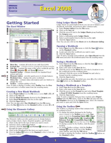 9781932104783: Microsoft Excel 2008 for Mac Quick Source Reference Guide