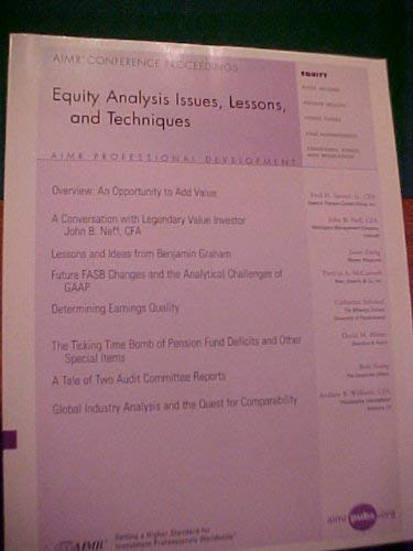 Equity Analysis Issues, Lessons and Techniques: Jason Zweig, Patricia