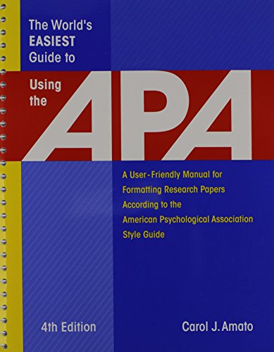 9781933277042: The World's Easiest Guide to Using the APA: A User-Friendly Manual for Formatting Research Papers According to the American Psychological Association Style Guide
