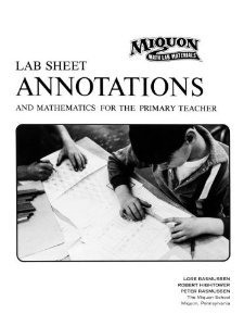 Lab Sheet Annotations and Mathematics for the: Rasmussen, Lore; Hightower,